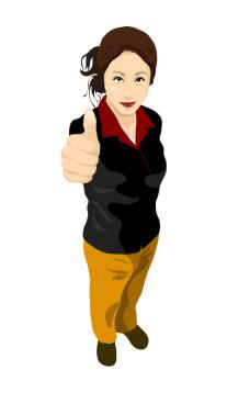 customercenter_04竖拇指的女人矢量图