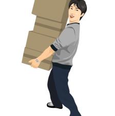 delivery_02搬箱子的男孩矢量图