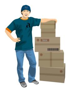 delivery_04休息的送货员矢量图
