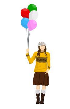 event_04气球女孩矢量图