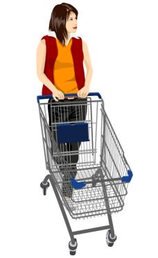购物女孩矢量图