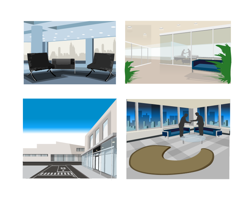 四张办公休息室  矢量图