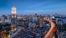 暮色中的上海新静安CBD