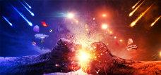 蓝红火光拳头动感活动背景